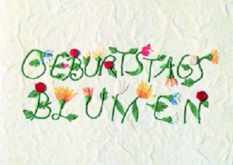 Räder Schrift Karte Geburtstagsblumen