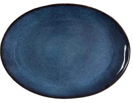 Bitz Platte oval 45x34 cm schwarz/dunkelblau