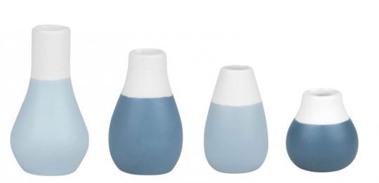 Räder Living Mini Pastellvasen 4er Set blau Ø 4 cm H :4,5-8 cm