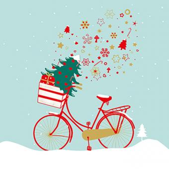 Paperproducts Design Servietten 33x33 cm Xmas Bike heaven