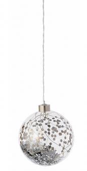 Räder Weihnachtszauber Lichtkugel silber dia 10,5 cm LED TIMER