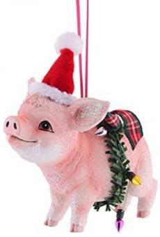 Gift Company Hänger Schwein mit Gift Company Weihnachtsmütze
