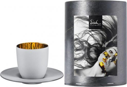 Eisch Cosmo Weiss Espresso 109/6 mit Untersetzer In Geschenkröhre