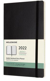 Moleskine 12 Monate Wochen Notizkalender 2022 L/A5 1 Wo = 1 Seite Rechts Linierte Seite Soft Cover Schwarz