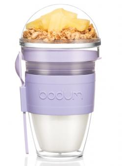 Bodum Joghurtbecher, 0,3 L mit Löffel Kunststoff doppelwandig Joycup verbena