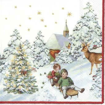 IHR Cocktail-Servietten 25x25 cm Annual Christmas Snow V&B