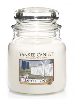 Yankee Candle Kerze mittel Clean Cotton