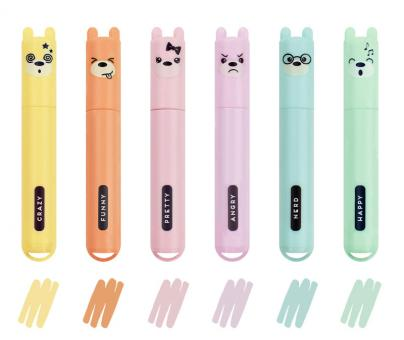 Legami 6er-Set Mini Textmarker Teddy' S Style