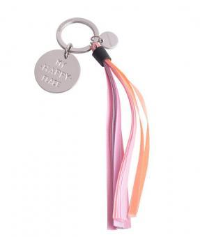 Gift Company Schlüsselanhänger Tassel My happy place silber/rosa/aprikot