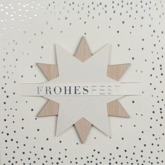 Räder XL Steckkarte Frohes Fest Holzstern 17x17 cm