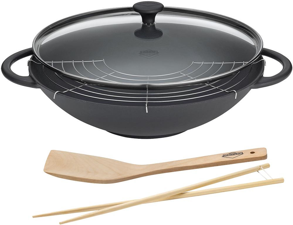 k chenprofi wok la cuisine mit glasdeckel schwarz 36 cm t pfe pfannen. Black Bedroom Furniture Sets. Home Design Ideas